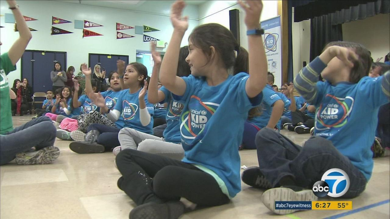 Kids at a Hollywood school learned about fitness and healthy eating as part of a UNICEF program.