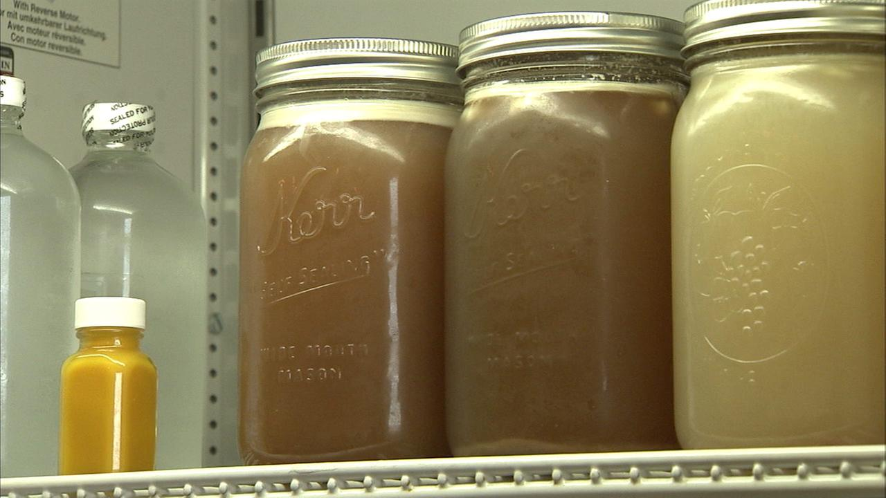 Jars of bone broth are seen in this undated file photo.