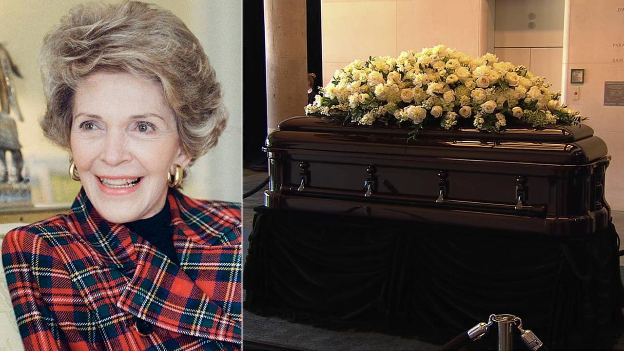 Former first lady Nancy Reagans casket draped with flowers at the Ronald Reagan Presidential Library on Wednesday, March, 9, 2016.