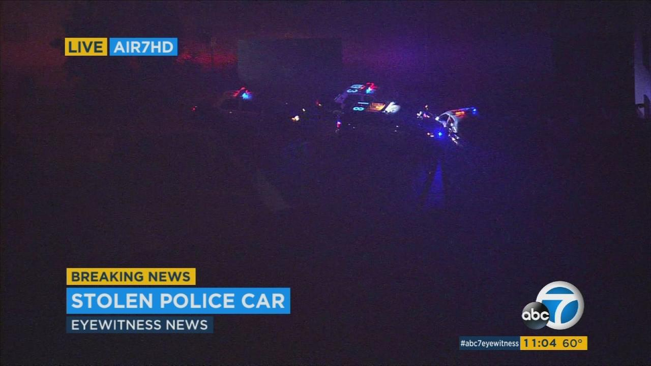 A suspect stole a police car and led officers on a lengthy high-speed chase Sunday through Los Angeles and the San Fernando Valley.