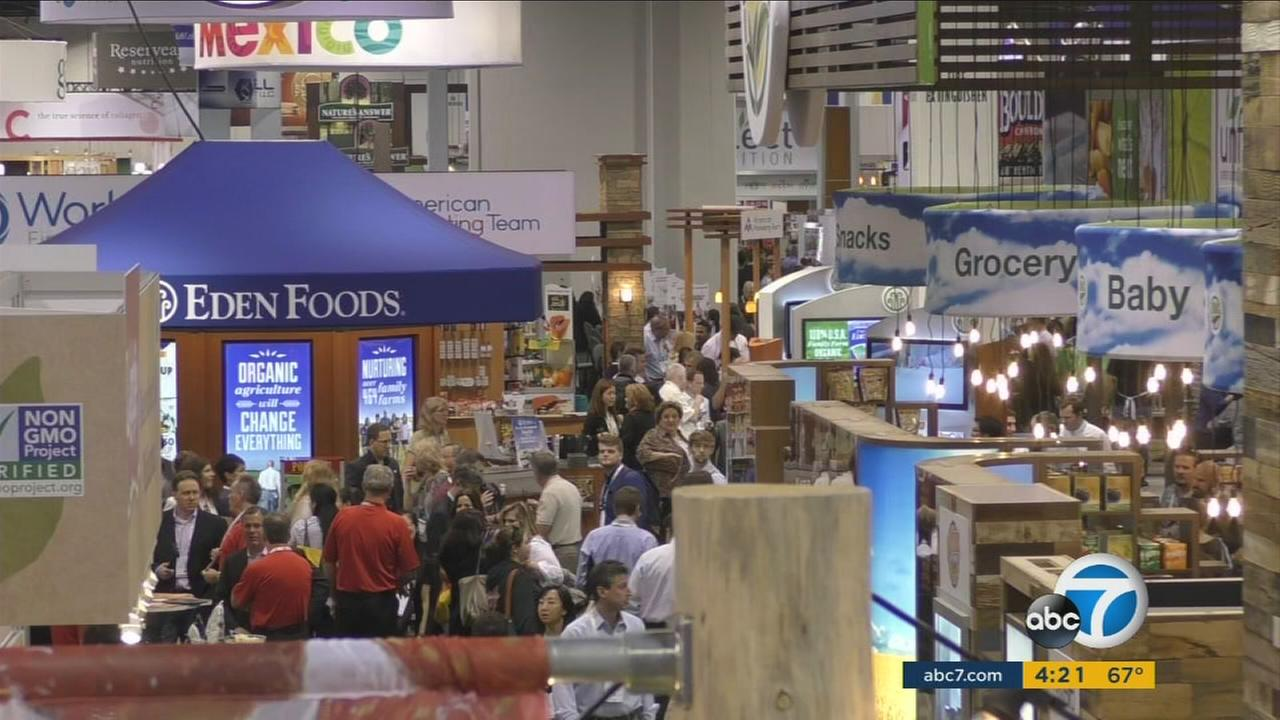 Cricket flour, mushroom coffee and bean pasta were among the food items on display at the Natural Products Expo in Anaheim.