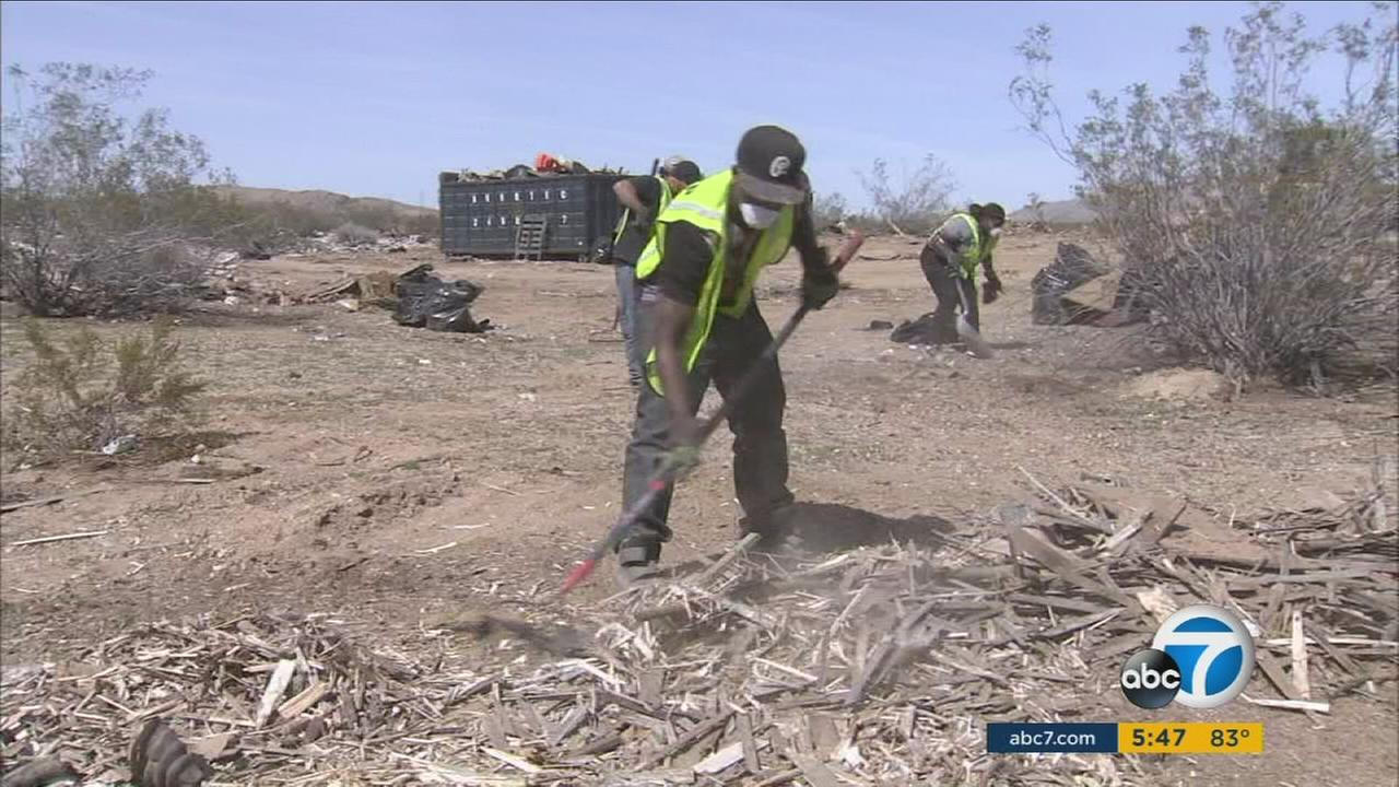 A massive illegal dump site in Apple Valley is getting cleaned up at a savings for San Bernardino County. Theyre doing it with inmates.