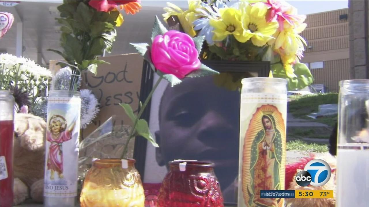 Jason Spears, 12, is shown in a photo at a makeshift memorial near the site where he was shot to death in San Bernardino.
