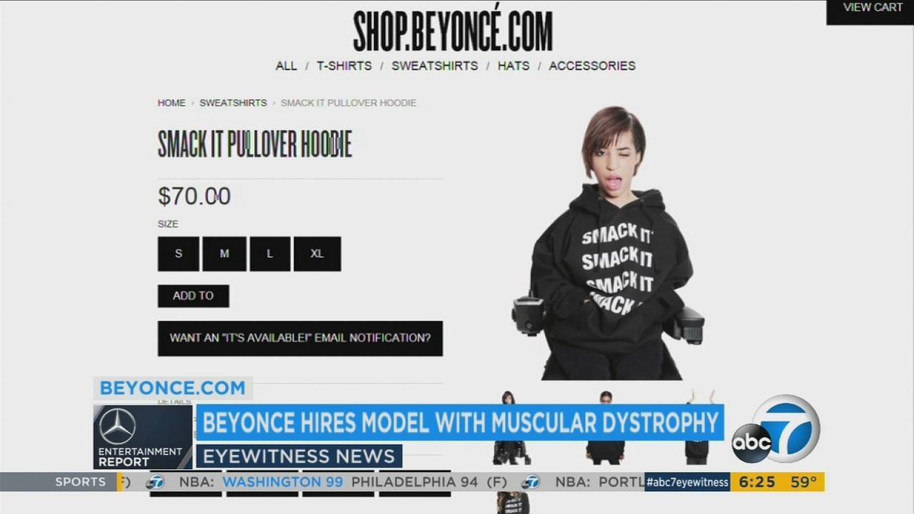 Blogger-turned-model Jillian Mercado is shown wearing a sweatshirt that is part of Beyonces new merchandise on her website.