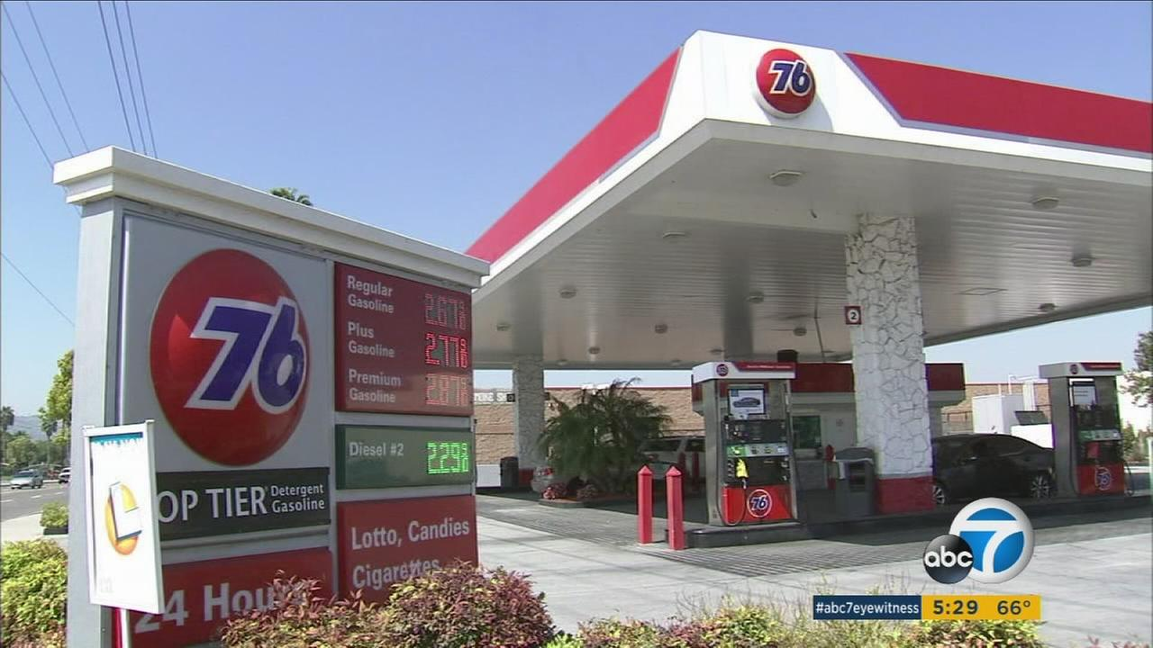 A 76 gas station where diesel was mistakenly pumped in place of premium gas in the City of Industry.