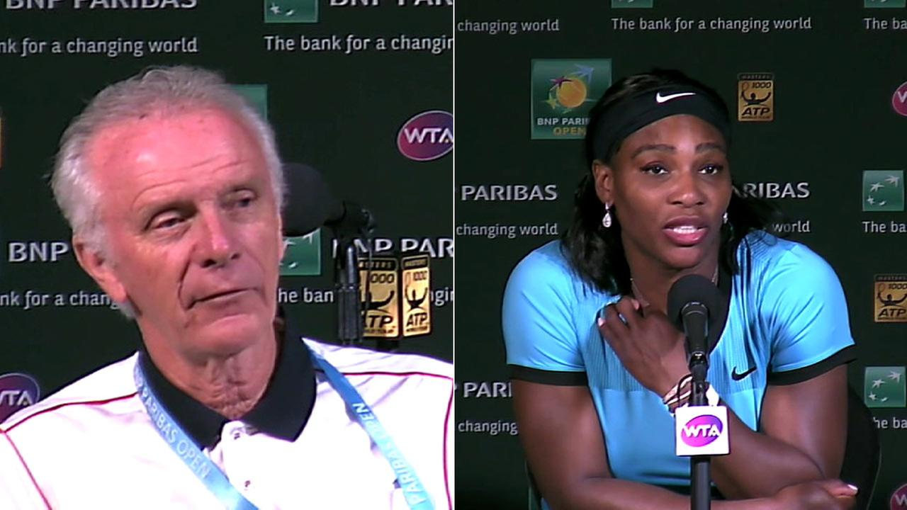 BNP Paribas Open director Raymond Moore and Serena Williams are seen speaking to the media in Indian Wells.