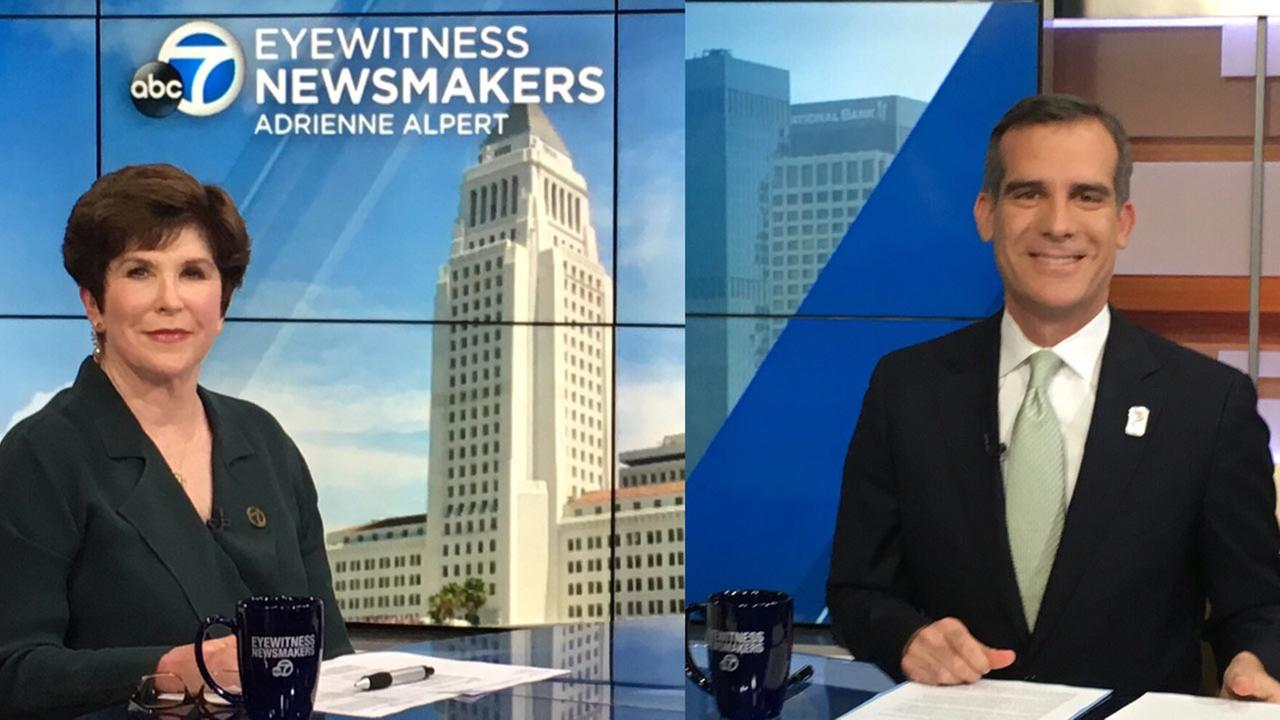 ABC7 reporter Adrienne Alpert interviews Los Angeles Mayor Eric Garcetti on Eyewitness Newsmakers.