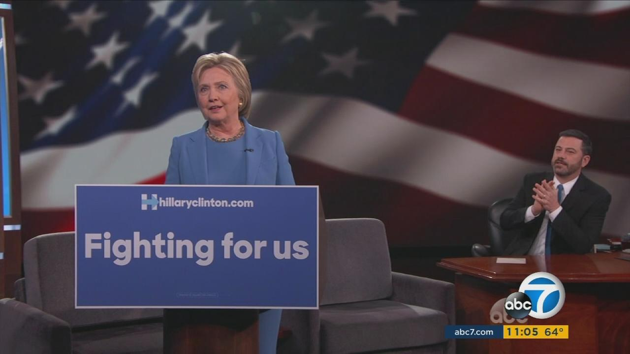 Democratic presidential candidate Hillary Clinton appeared on Jimmy Kimmel Live! on Thursday, March 24, 2016.
