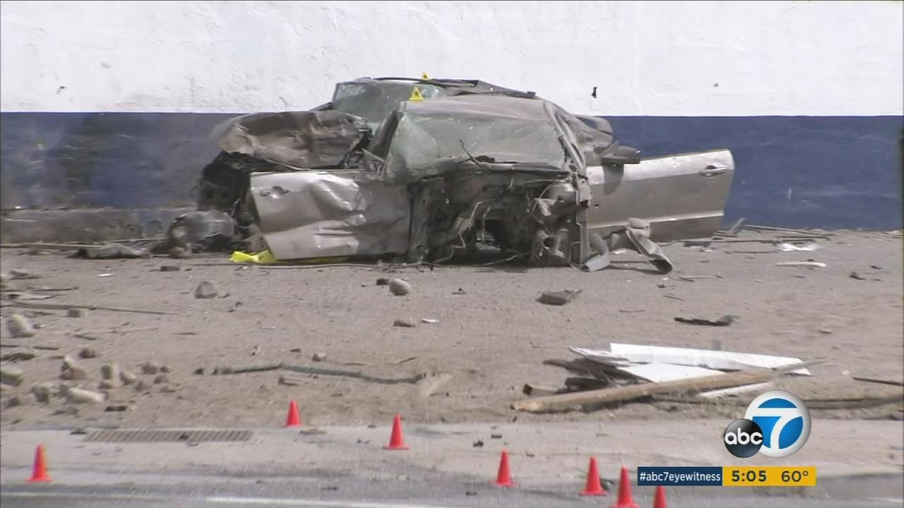Two people were killed Monday morning after a Honda Civic traveling more than 100 mph crashed into a Mustang in a San Bernardino intersection.