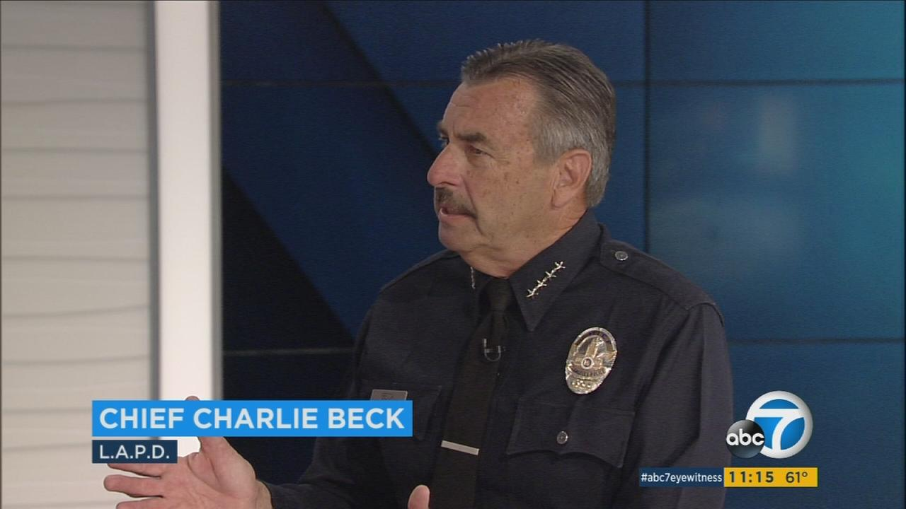 Los Angeles Police Chief Charlie Beck is shown during an interview with Eyewitness News anchors Philip Palmer and Christina Salve on Wednesday, March 30, 2016.