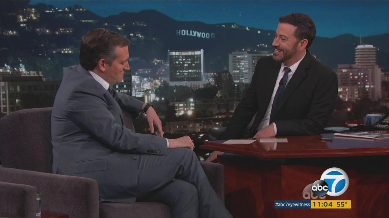Republican presidential candidate Sen. Ted Cruz made an appearance on Jimmy Kimmel Live! on Wednesday, March 30, 2016.