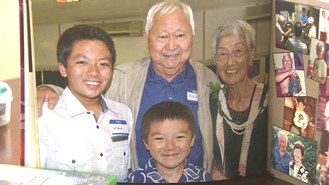 Part of the Onuma family is shown in a photo with their grandmother who died almost two years ago from cancer.