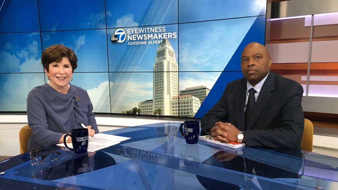 Eyewitness Newsmakers host Adrienne Alpert and Los Angeles Metro CEO Phillip Washington are shown in an undated photo.