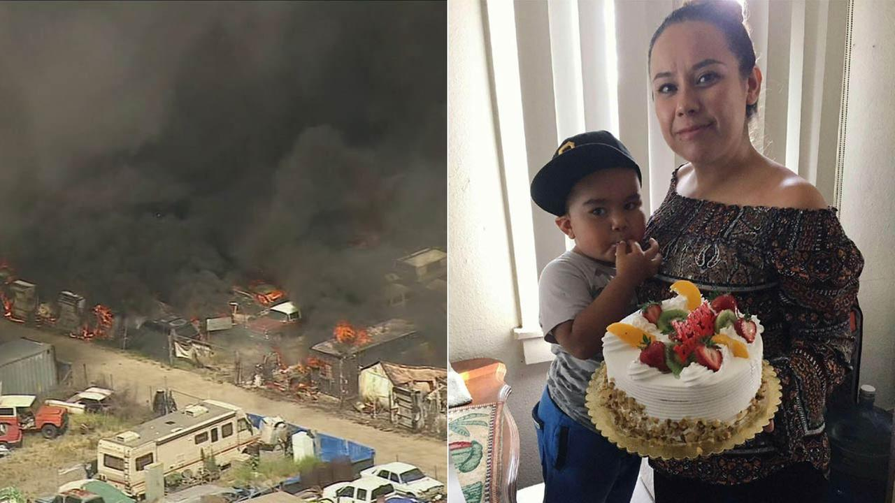 (Right) Diana Velasco and her 3-year-old son Andrew are seen in this photo provided by family members. (Left) Smoke and flames are seen at a recycling center in Montclair.
