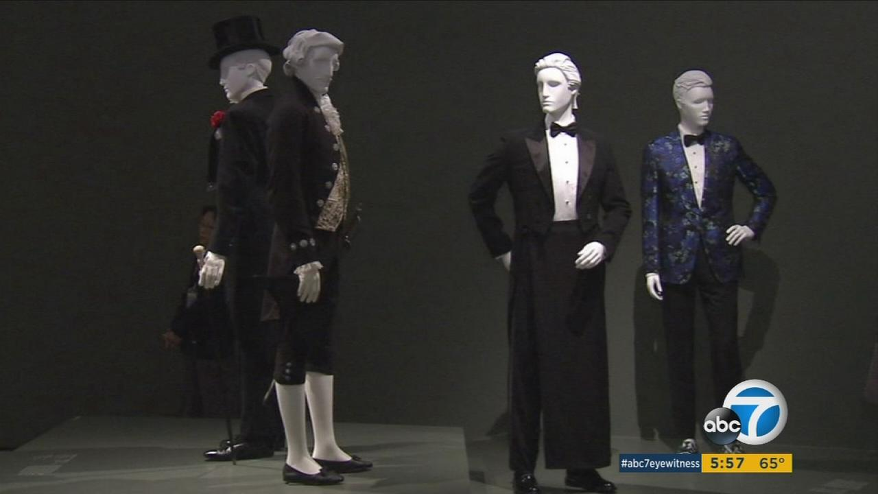 Menswear from over the last three centuries were on a preview display at Los Angeles County Museum of Art.