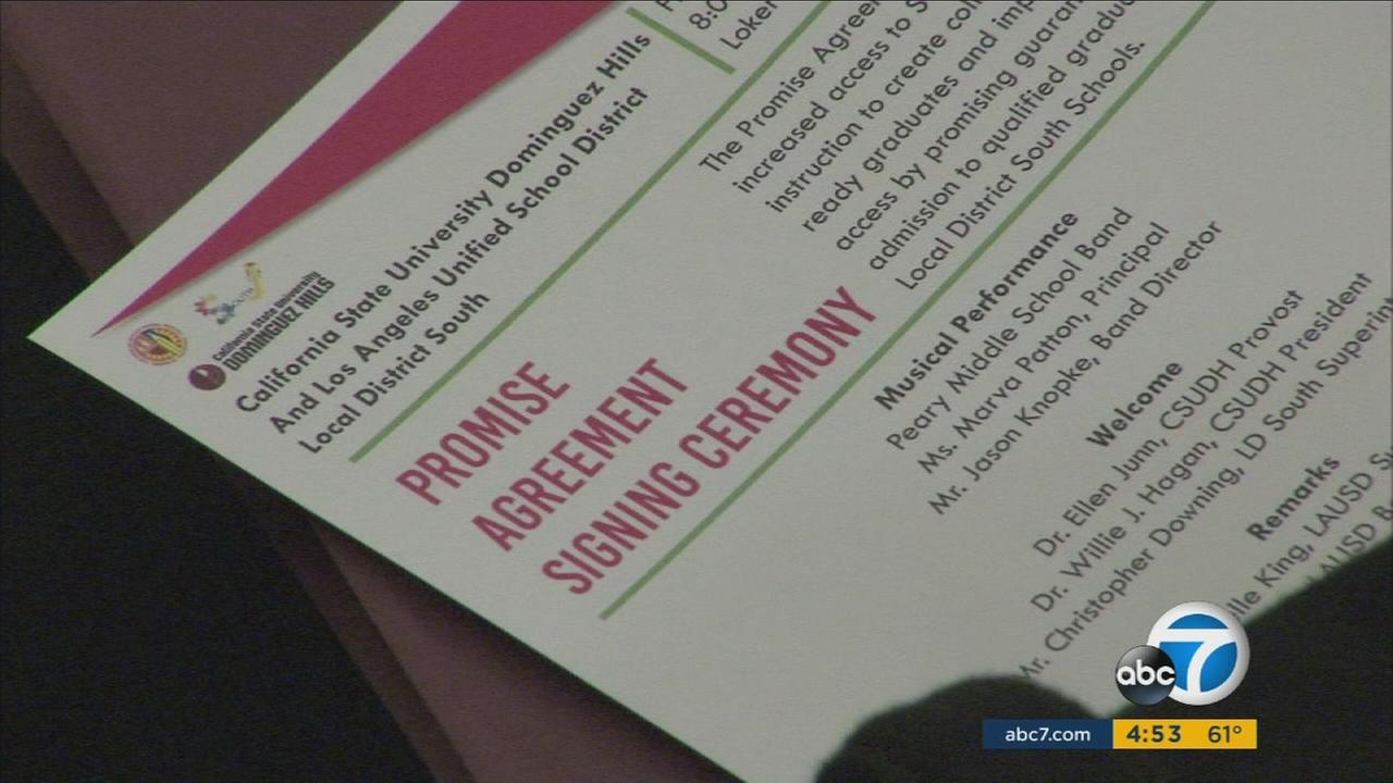 A new agreement between LAUSD and CSU Dominguez Hills guarantees admission for some South Los Angeles students.