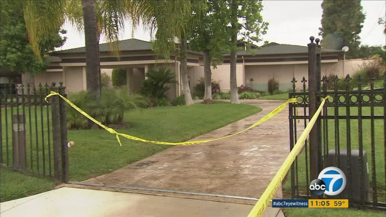 Detectives investigated the death of an elderly woman after a fire at a home in the 20900 block of East Mesarica Road in Covina on Friday, April 8, 2016.