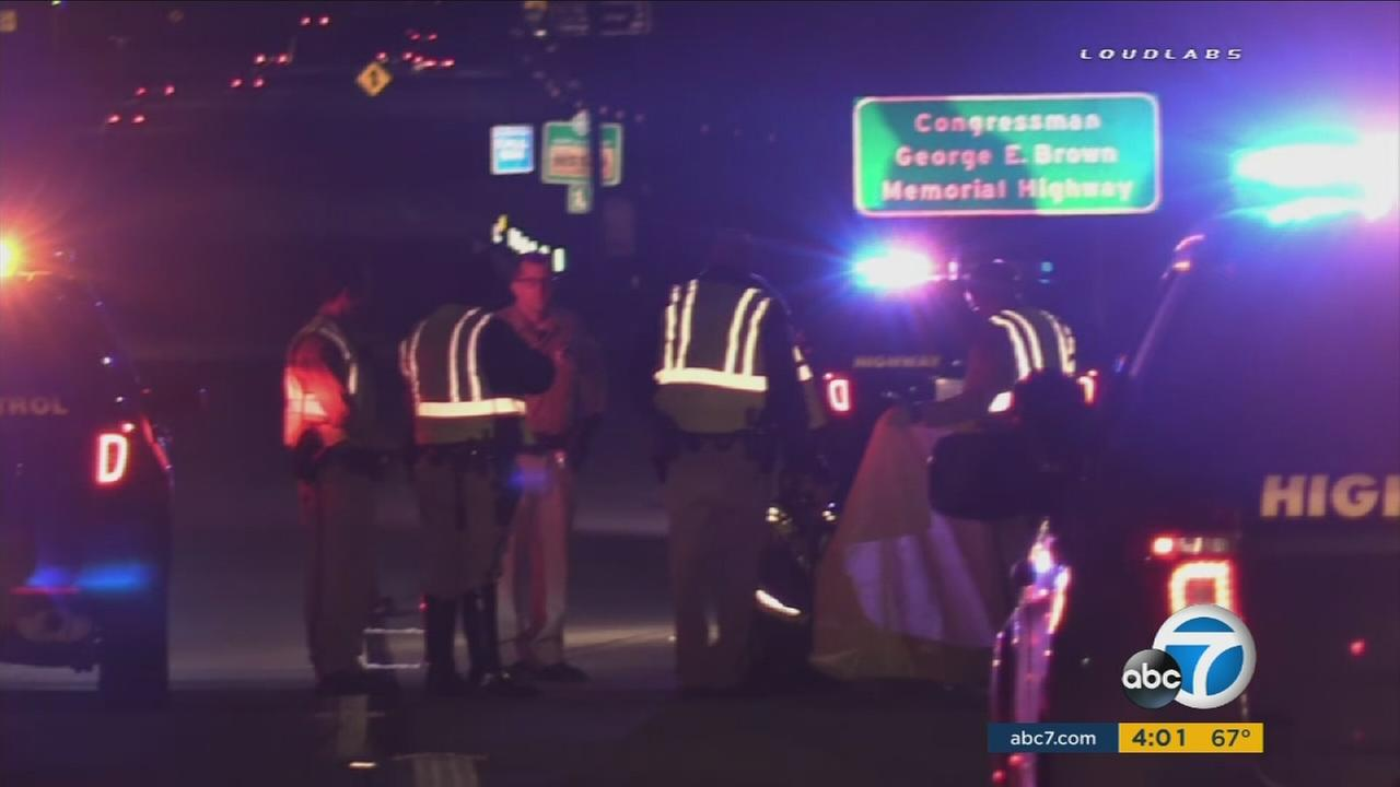 A man was killed by a hit-and-run driver as he tried to change a flat tire on the 210 Freeway on Sunday, April 10, 2016,  according to CHP officials.