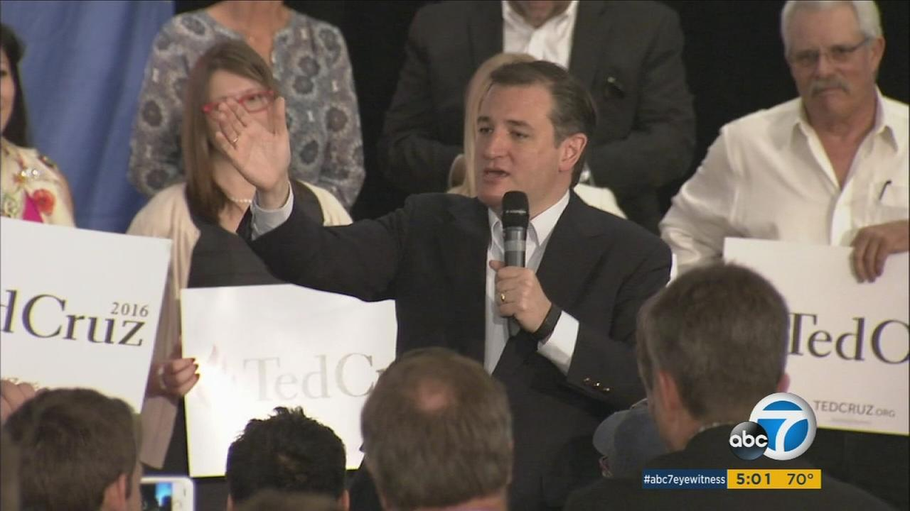 Republican presidential candidate Ted Cruz holds a rally in Irvine, Calif., on Monday, April 11, 2016.