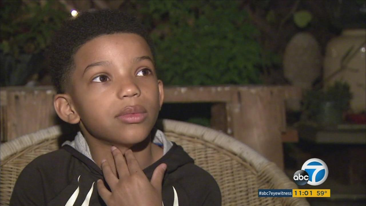 Lonnie Chavis, 8, said two masked men attempted to kidnap him while he took out the trash in Long Beach on Monday, April 11, 2016.