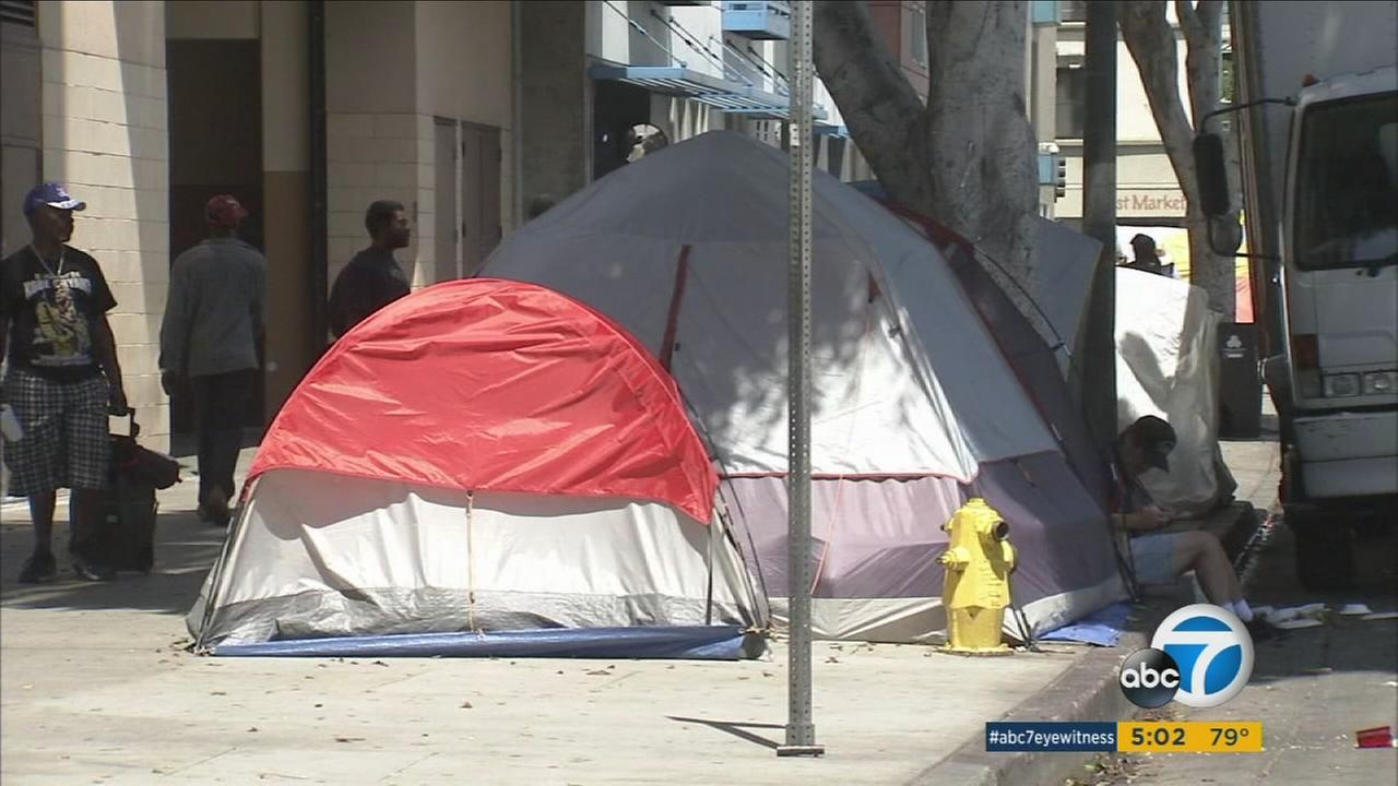 A homeless encampment is shown along a street in Los Angeles in an undated photo.