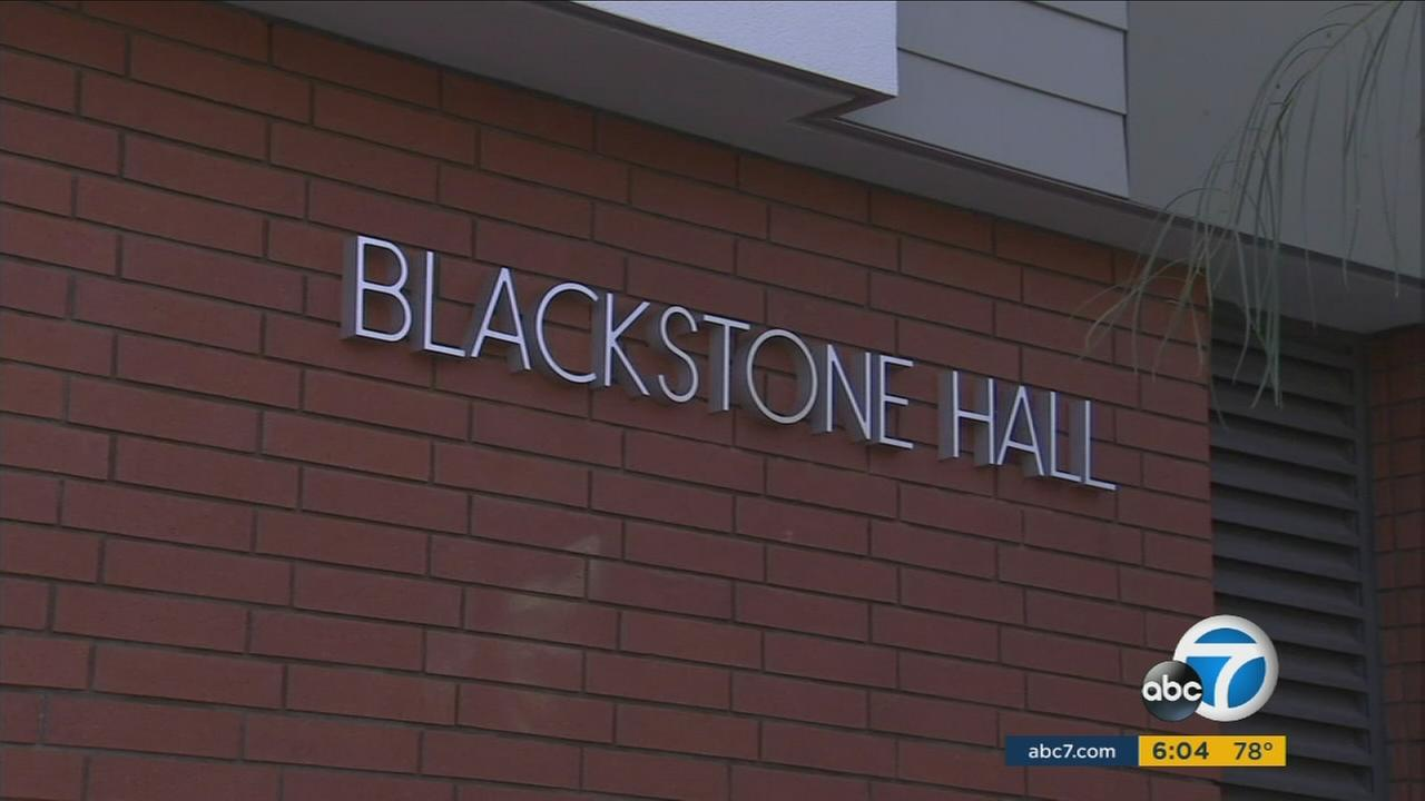 The sign for Blackstone  Hall at Biola University is seen in this photo.