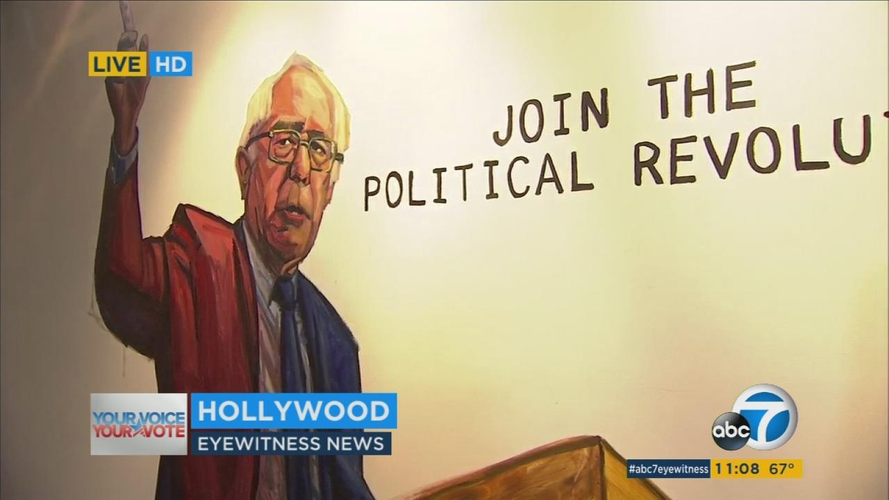 A painting of Bernie Sanders is shown at his new Hollywood campaign headquarters on Wednesday, April 20, 2016.
