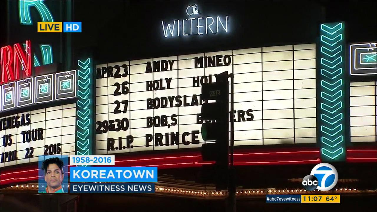 The Wiltern marquee reads R.I.P. Prince on Thursday, April 21, 2016.