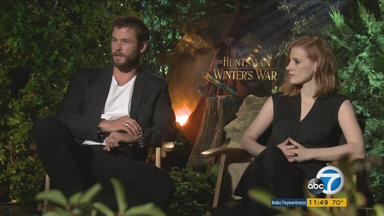 Chris Hemsworth and Jessica Chastain are shown during a promotional interview for The Huntsman: Winters War.