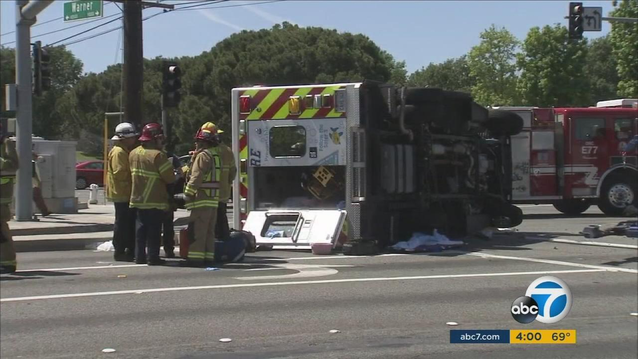 Six people were injured in an ambulance collision in Fountain Valley, Orange County officials said.