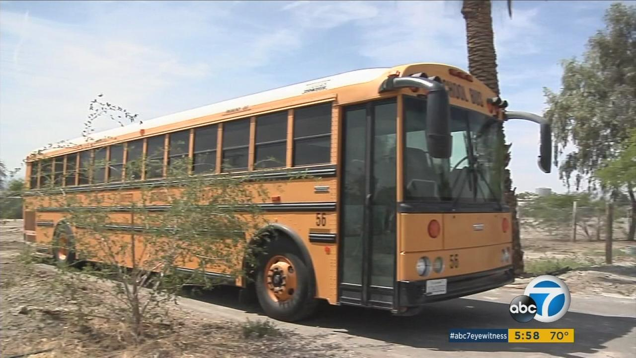 School buses equipped with Wi-Fi routers and solar panels are left in neighborhoods to provide free Internet access in the Coachella Valley school district.