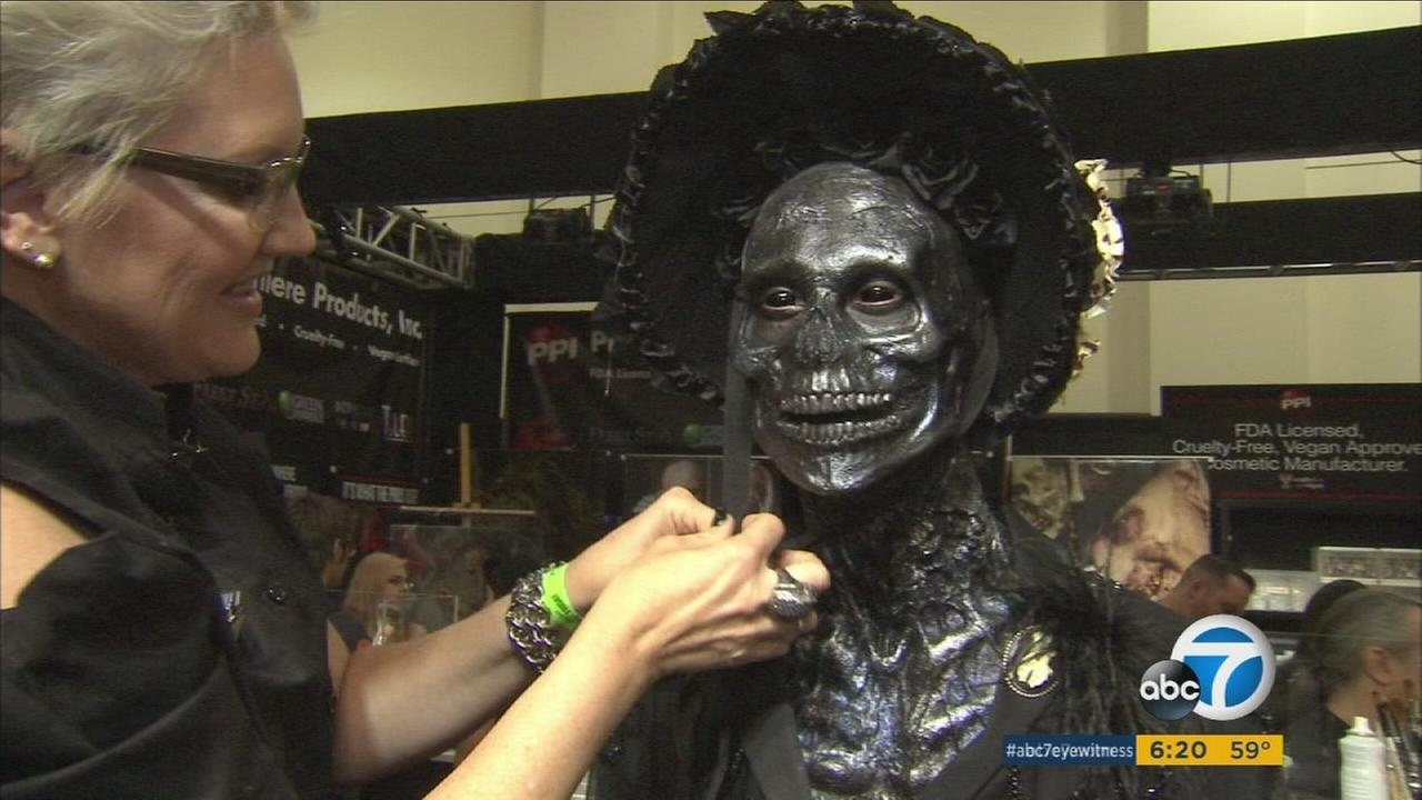 A spooky monster is getting hair and makeup done for the annual horror convention Monsterpalooza in Pasadena on Friday, April 22, 2016.
