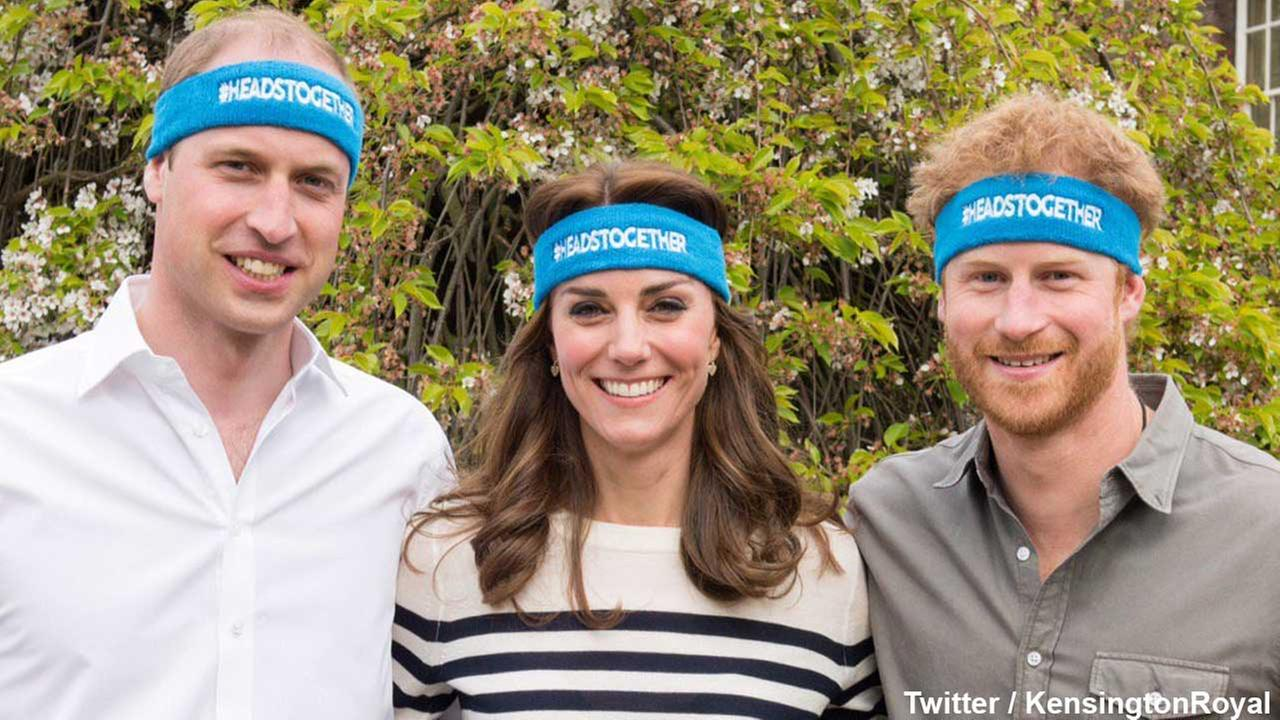 Prince William, Duchess Kate and Prince Harry appear in a photo for their Heads Together campaign.