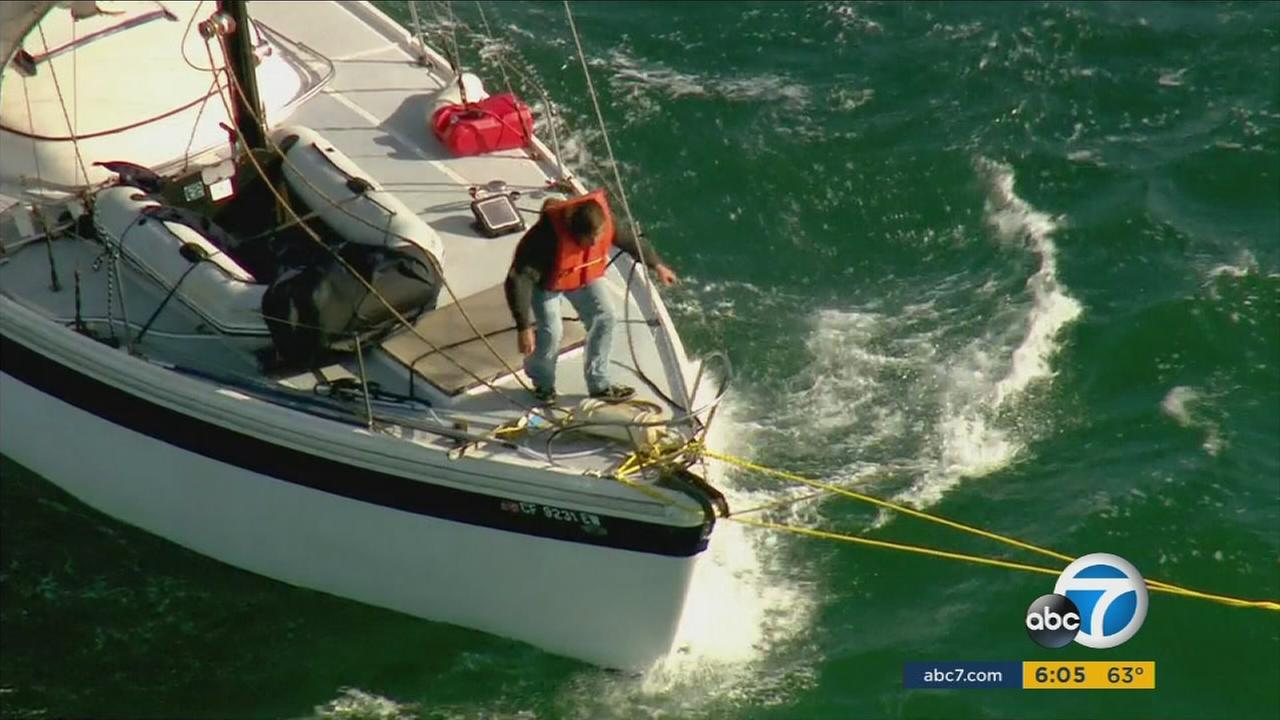 Crews with the Los Angeles Fire Department rescued a boater in distress off the coast of San Pedro on Monday, April 25, 2016.