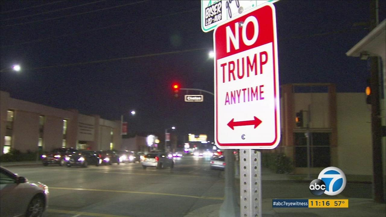 This No Trump Anytime sign is created by street artist known as Plastic Jesus.