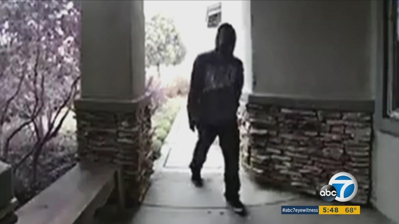 A doorbell camera caught a thief stealing packages from a Fontana home.