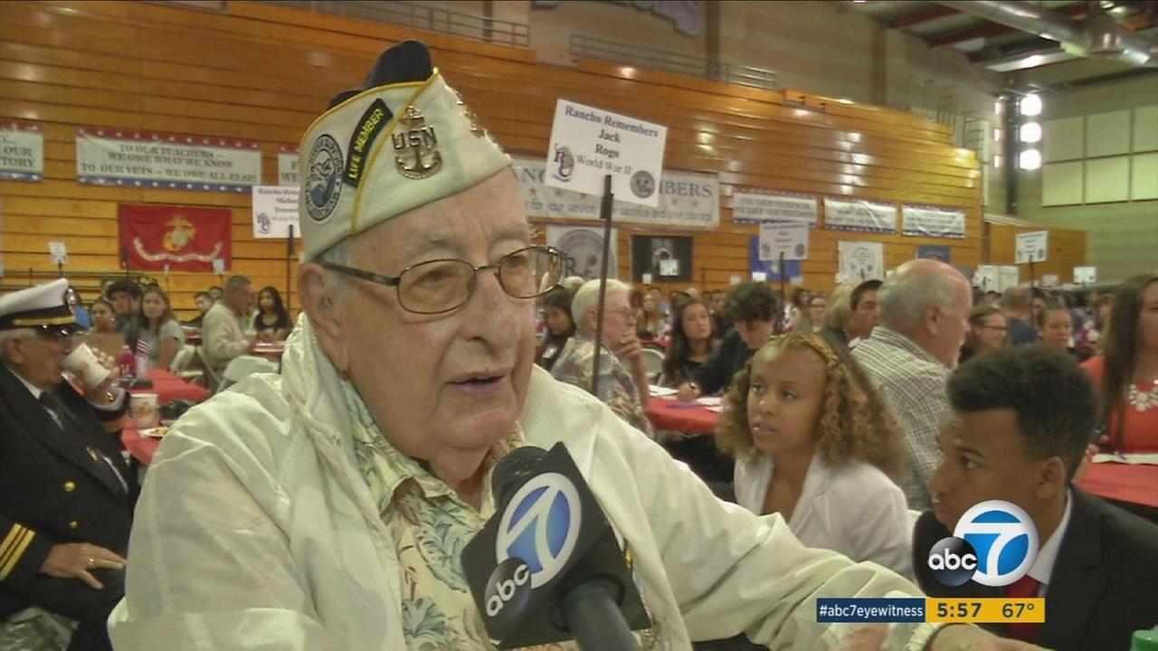 Students at Rancho Cucamonga High closed their history books on Tuesday to listen to war stories from more than 300 veterans.