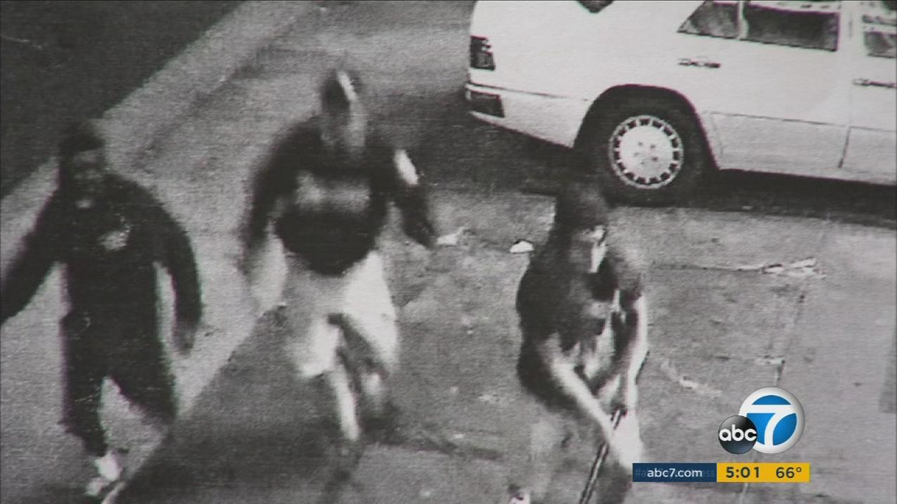 Surveillance footage shows three suspects involved in a fatal stabbing in the Westlake District on June 23, 2015.