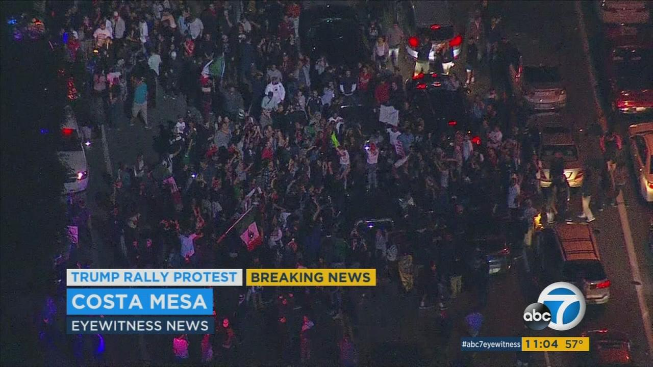 Protest outside a Donald Trump rally in Costa Mesa turned chaotic as several demonstrators defied orders to disperse on Thursday, April 28, 2016.