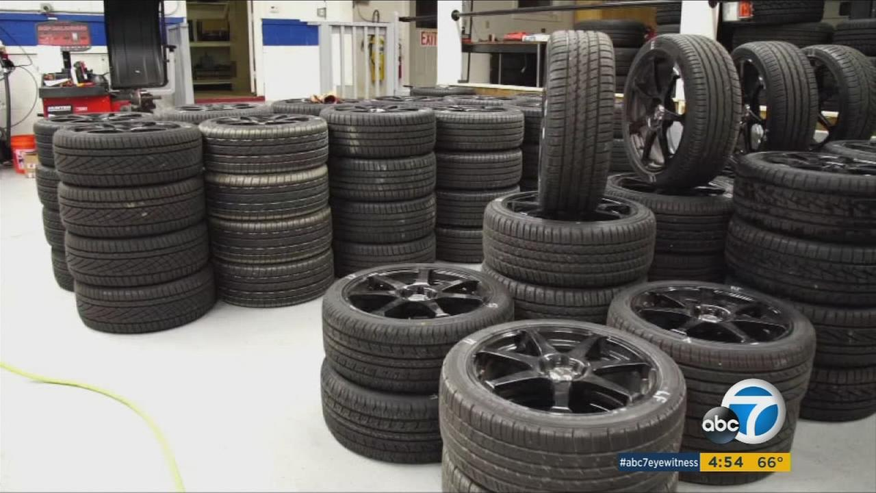 One of many tested all-season tires shown during a Consumer Reports segment.
