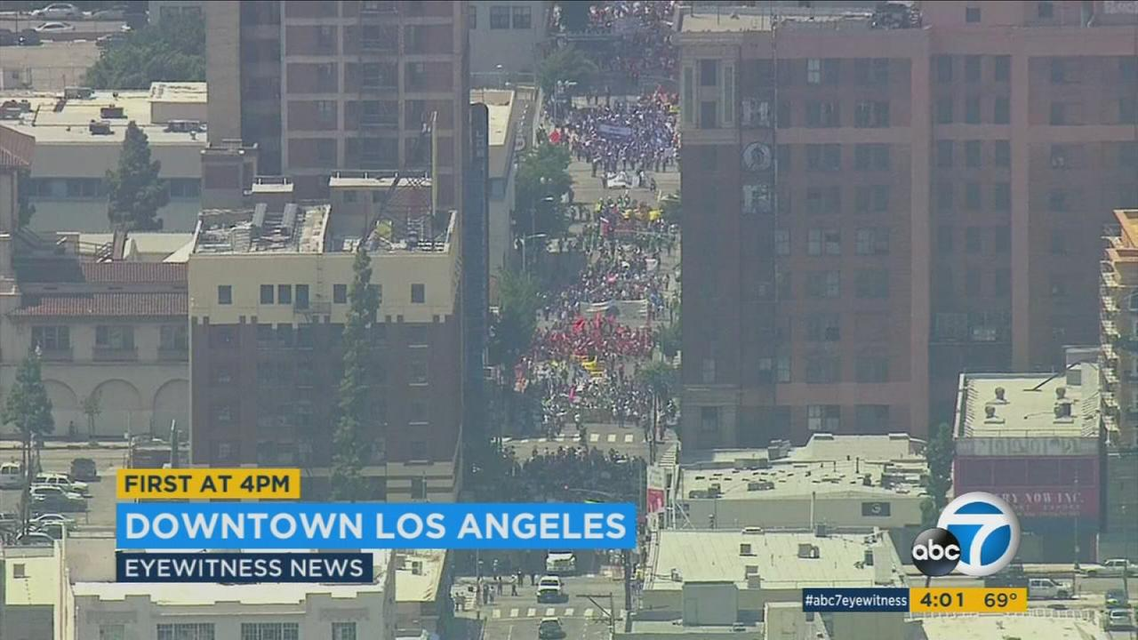 Thousands of workers gathered in downtown Los Angeles for May Day protests on Sunday, May 1, 2016.