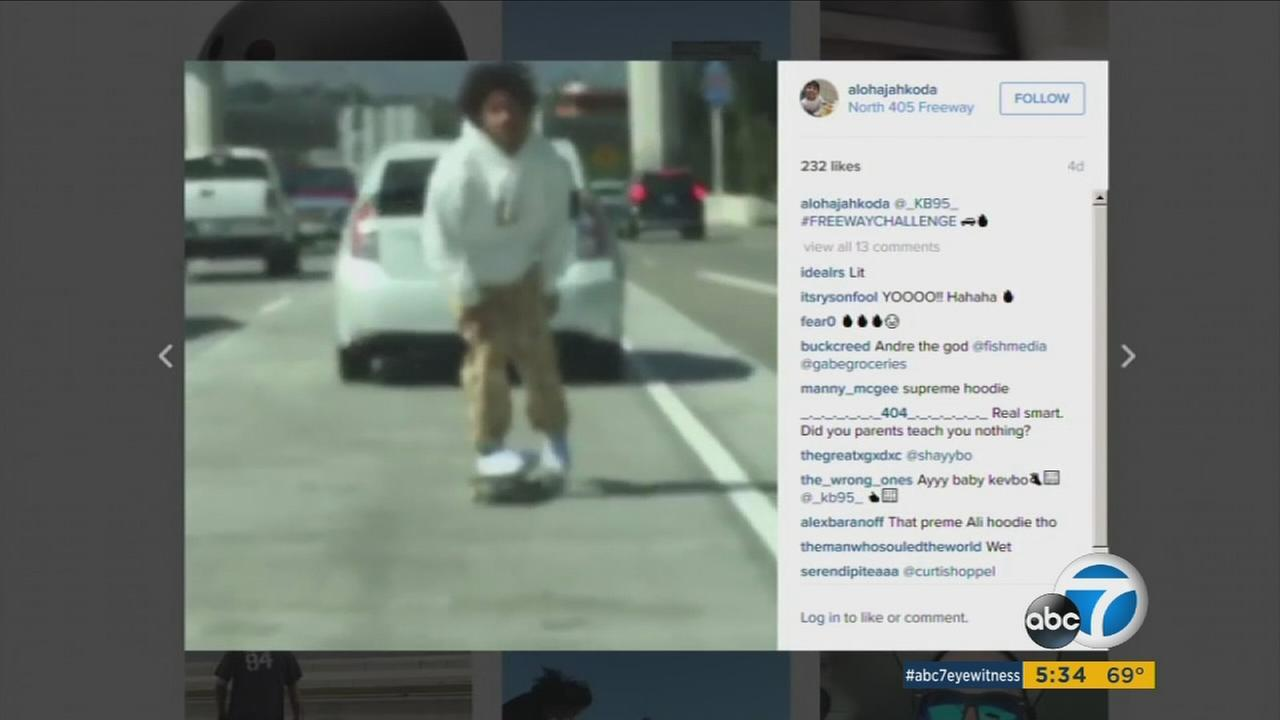 Officials are warning about a new video trend that features skateboarding on freeways.