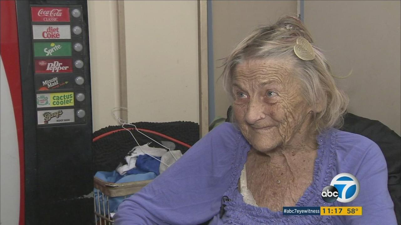 Mimi is shown in an undated photo at the Santa Monica laundromat she used to live in.