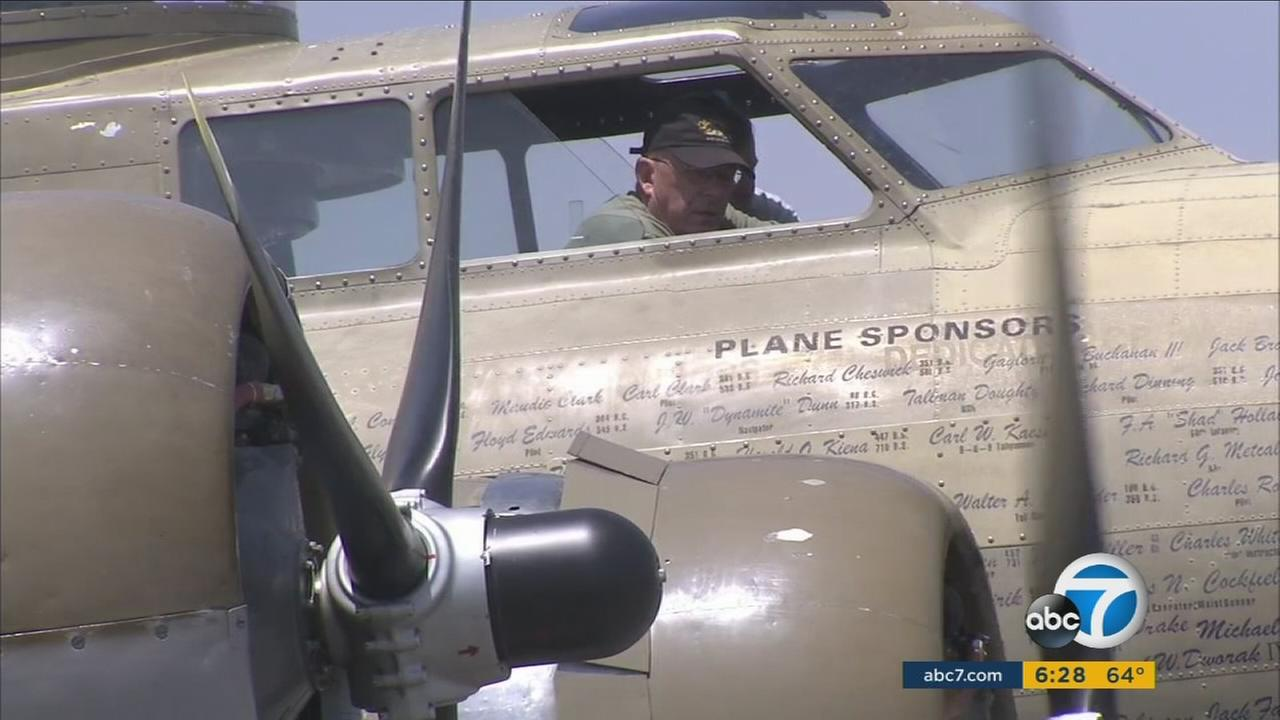 Lou Tirado, a 92-year-old World War II veteran, rode in a B-17 on Wednesday, May 4, 2016, for the first time since he and his crew were shot down over Germany on Sept. 12, 1944.