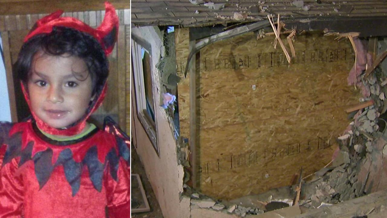 Armando de la Cruz (left) is shown in an undated photo alongside an image of the bedroom he was in when a car crashed through it on Thursday, May 5, 2016.