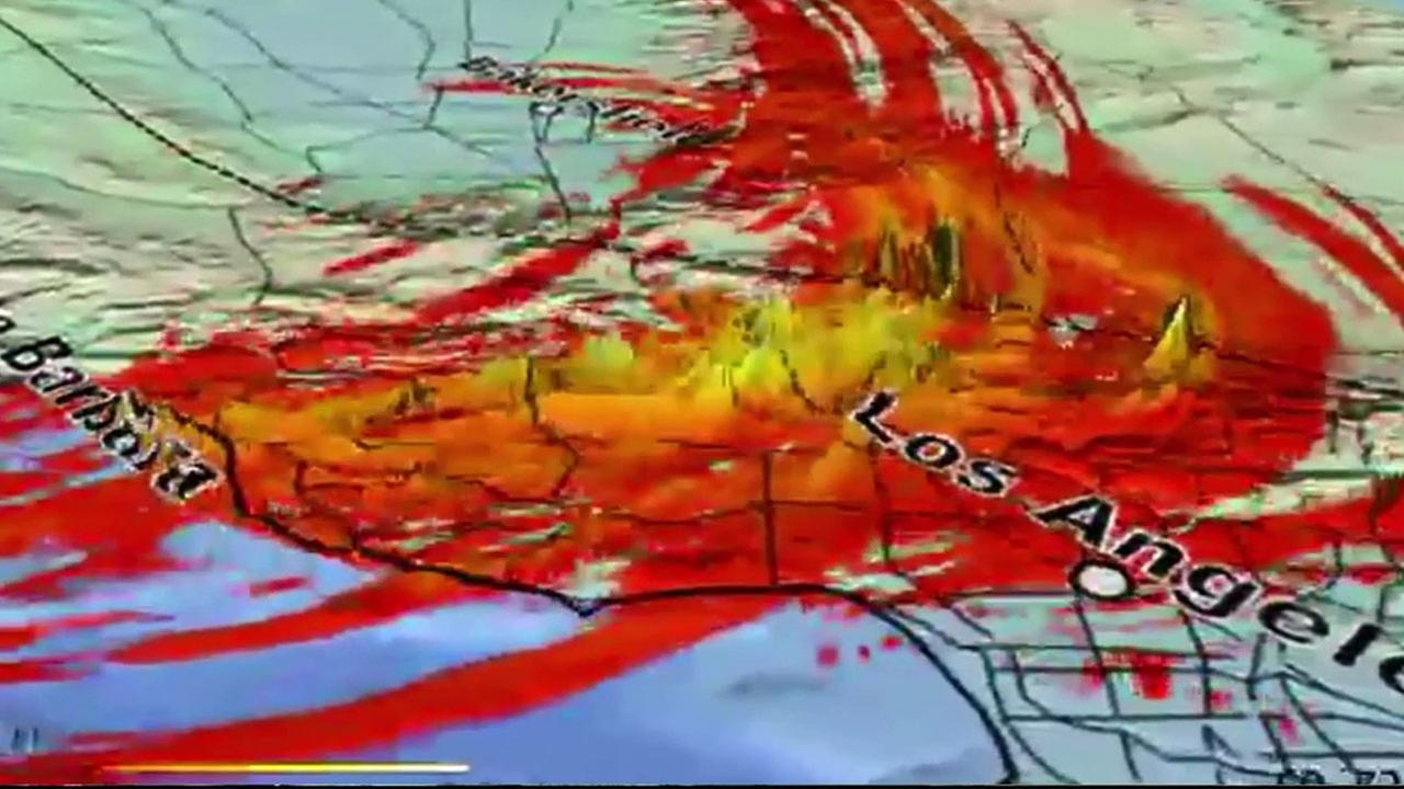 A simulation of the impact of a massive earthquake erupting from the San Andreas fault would be like is shown above.