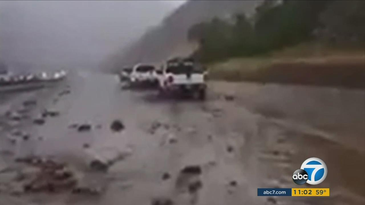 The skies over Southern California brought strong rain, causing flooding, mudslides and dangerous conditions to commuters on Friday.