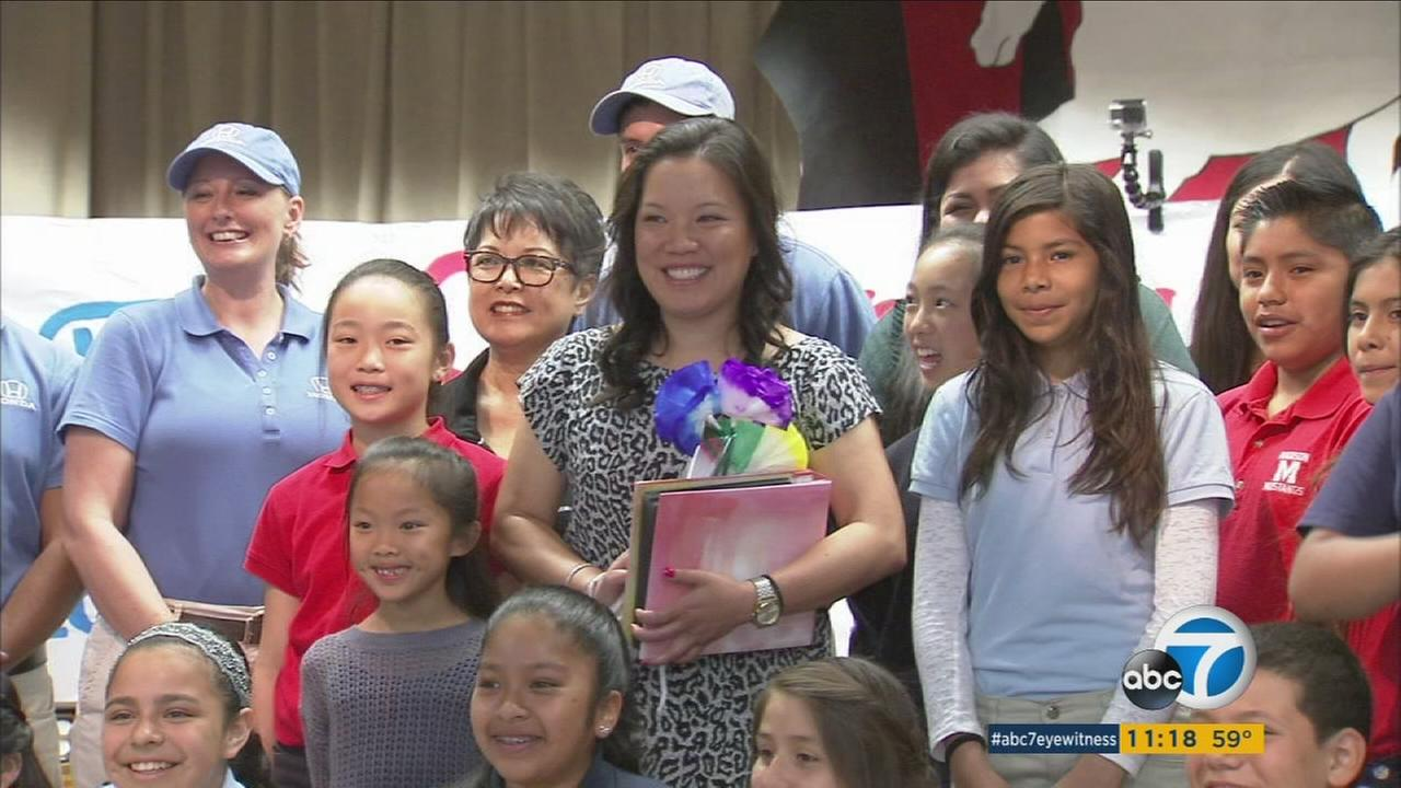 Teacher Lindsay Yee was honored in a surprise assembly at her Santa Ana school in recognition of her years of supporting students.