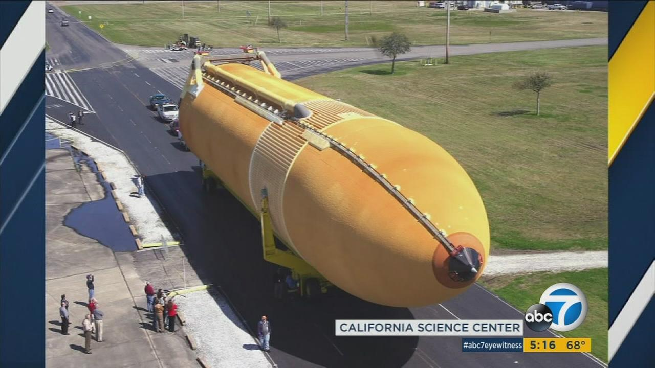 The space shuttle external tank known as ET-94 will arrive in Marina del Rey before heading to the California Science Center in Exposition Park on May 21.