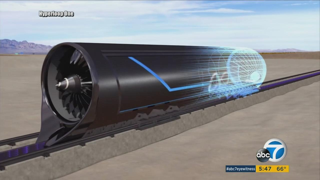 Los Angeles based Hyperloop One revealed its propulsion system in North Las Vegas on Wednesday, May 11, 2016.